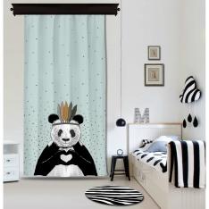 Romantik Panda Mavi Fon Perde By İmren Gürsoy