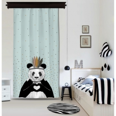 Romantic Panda Blue Curtain By İmren Gürsoy