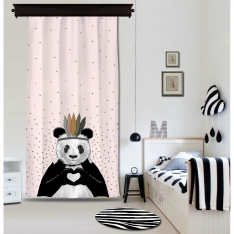 Romantic Panda Pink Curtain By İmren Gürsoy