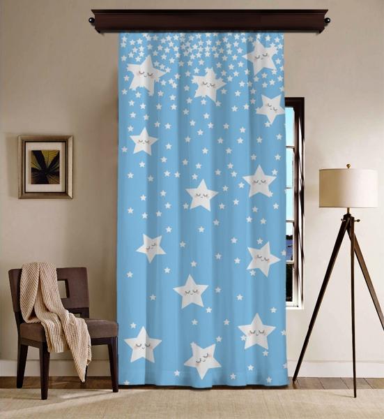 Sevimli Uyuyan Yıldızlar Mavi BlackOut Perde