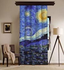 Vincent Van Gogh - Yıldızlı Gece Panel 3 BlackOut Perde