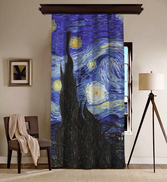 Vincent Van Gogh - Yıldızlı Gece Panel BlackOut Perde