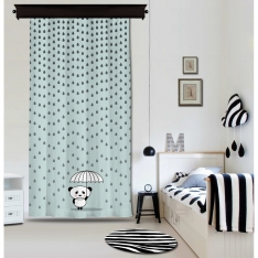 Rainy Panda Blue Panel Curtain By İmren Gürsoy