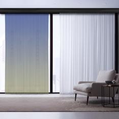 Beige-Cobalt Blue Degrade Tulle Curtain | Masterpieces Combine