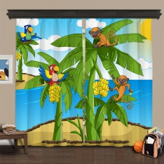 Cipcici Theatre Tropical Buddies 2 Panel Curtain