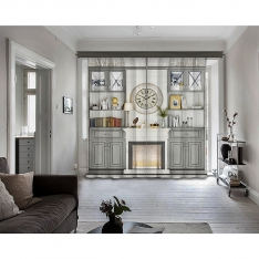 Grey Bookcase - Fireplace - Clock 2 Panel Curtain