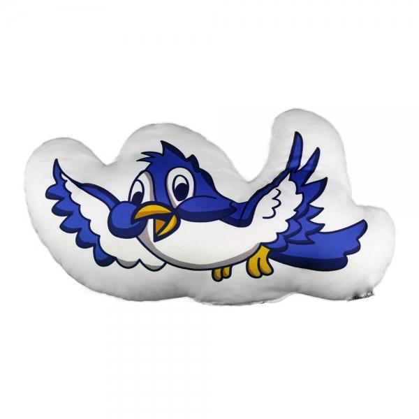 Mavi Beyaz Kuş Biblo Yastık - Orman Ailesi