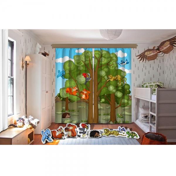 Cipcici Tiyatrosu Orman Ailesi Fon Perde + Biblo Yastıklar Set