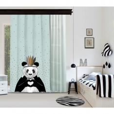Romantik Panda Mavi Fon Perde & Mete Mavisi Tül Perde By İmren Gürsoy