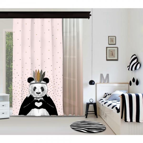 Romantik Panda Pembe Fon Perde & Pudra Pembe Tül Perde By İmren Gürsoy