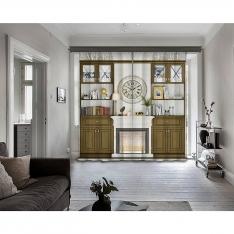 Yellow Bamboo Bookcase - Fireplace - Clock 2 Pcs Panel Curtain