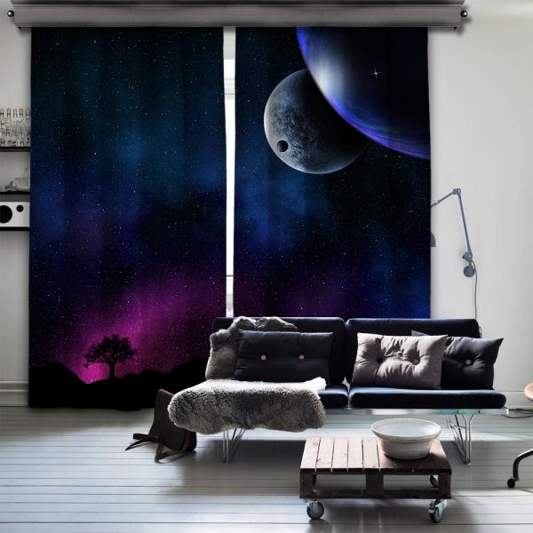 Aurora Işıkları ve Gezegenler Çift Kanat Fon Perde