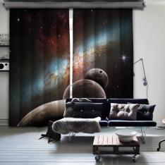 Simetrik Gezegenler Çift Kanat Fon Perde