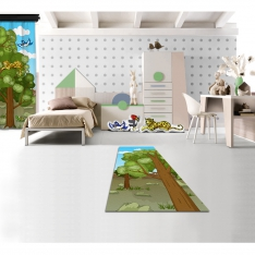 Cipcici Theater Forest Family Printed Carpet