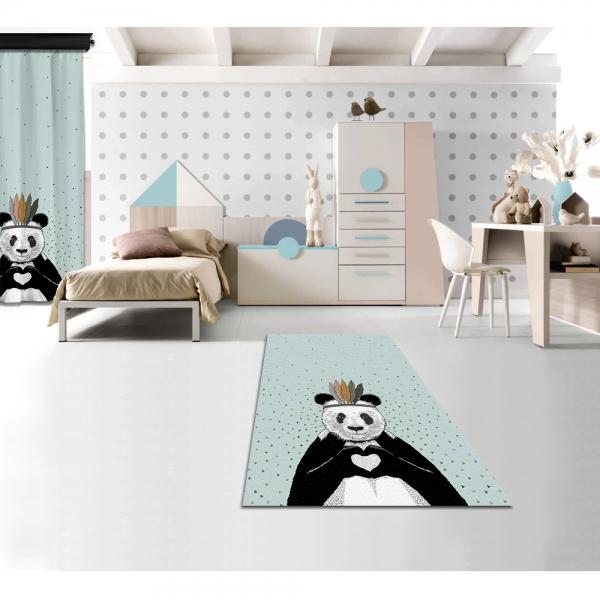 Romantic Panda Blue Printed Carpet By İmren Gürsoy