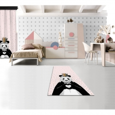 Romantic Panda Pink Printed Carpet By İmren Gürsoy