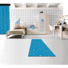 Blue Star Printed Carpet with Yellow