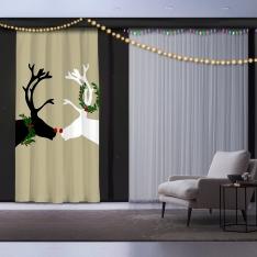 Double Deer Christmas Panel Curtain