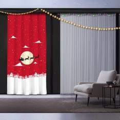 Kırmızı Fon - Noel Baba ve Geyikler Yılbaşı Fon Perde