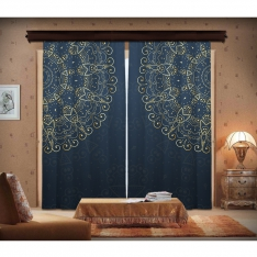Navy Blue & Golden Mandala 2 Panel Curtain