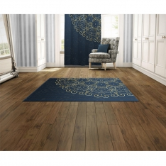 Navy Blue&Golden Mandala Printed Carpet