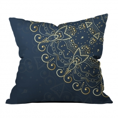 Navy Blue & Gold Rings Mandala Cushion