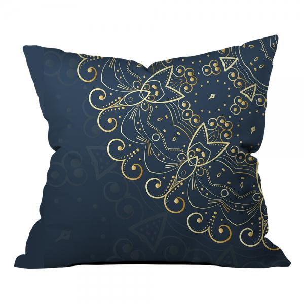 Lacivert&Altın Sarısı Mandala Kırlent