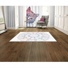 Mandala Figured Cat Printed Carpet