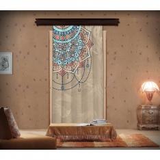 Mozaik Desenli Mandala  ve Çiçekler Fon Perde