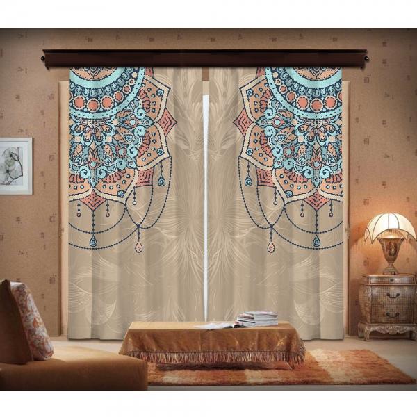 Mozaik Desenli Mandala  ve Çiçekler 2 Kanat Fon Perde