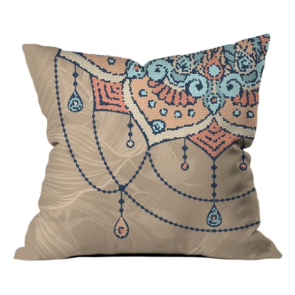 Mozaik Desenli Mandala ve Çiçekler Kırlent