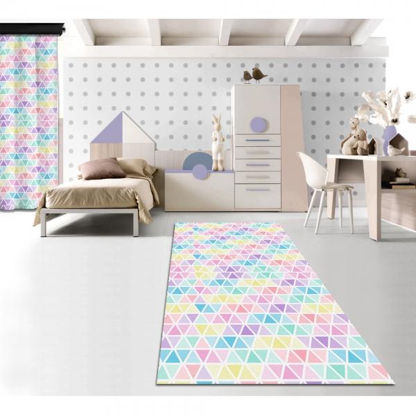 Pastel Renkli Üçgenler Baskılı Halı 120x160