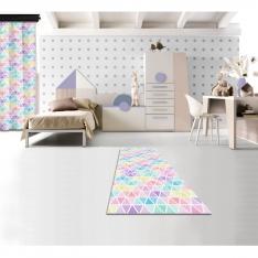 Pastel Renkli Üçgenler Baskılı Halı 80x150 CM Outlet Ürün
