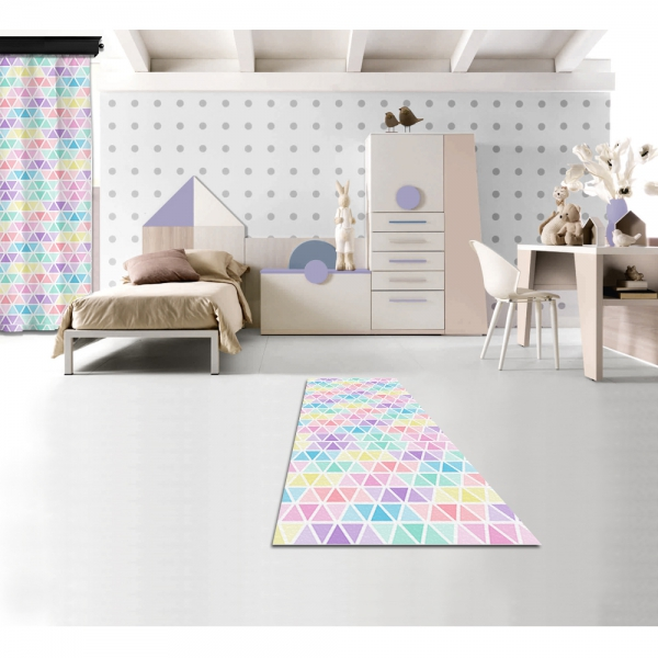 Pastel Colored Triangles Printed Carpet