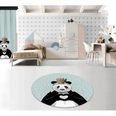 Romantic Panda Blue Printed Carpet By İmren Gürsoy