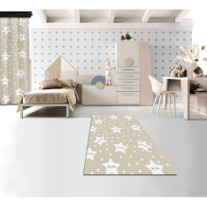 Cute Sleeping Stars Cream Printed Carpet