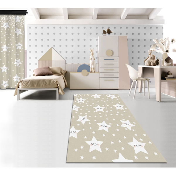 Sevimli Uyuyan Yıldızlar Krem Baskılı Halı 160x230 CM Outlet Ürün