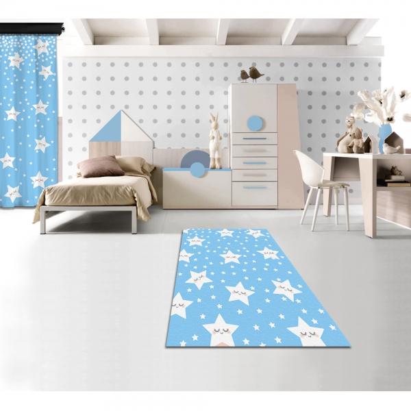 Sevimli Uyuyan Yıldızlar Mavi Baskılı Halı