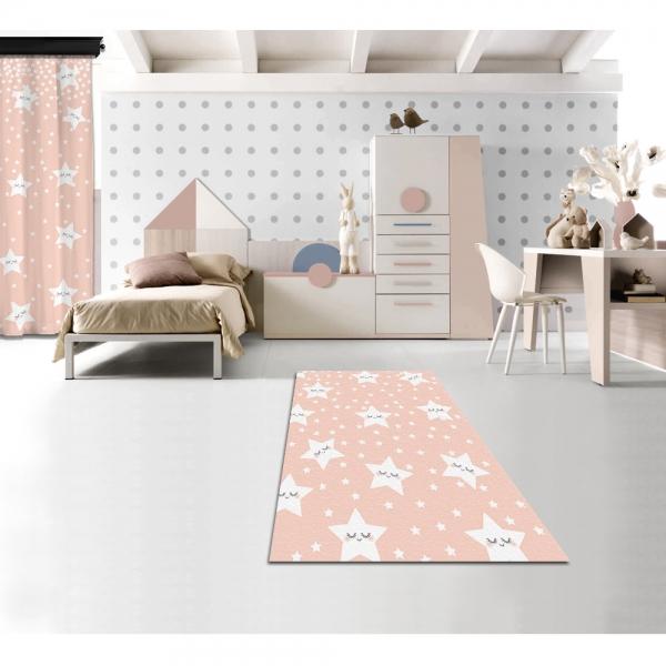 Cute Sleeping Stars Pink Printed Carpet
