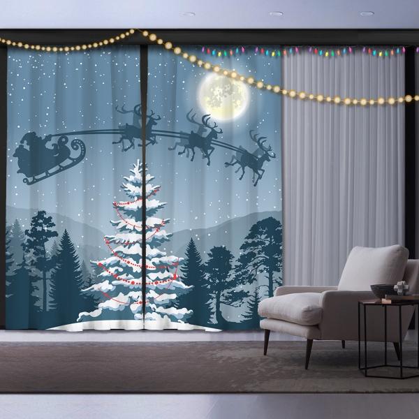 Yılbaşı Gecesi ve Noel Baba İki Kanat Fon Perde