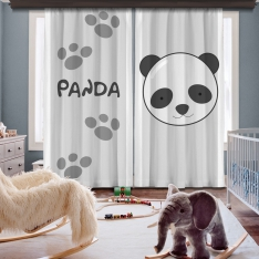 Cipcici Panda 2 Panel Curtain