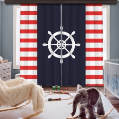 Red-White Rudder 2 Panel Curtain