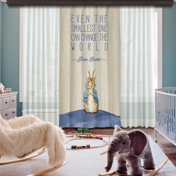 Peter Rabbit Dünyası Tek Kanat Fon Perde 260 CM