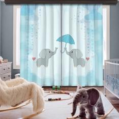 Şemsiyeli Filler İki Kanat Fon Perde