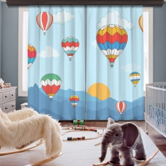 Flying Balloons 2 Panel Curtain