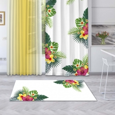 White Summer Flowers Printed Carpet