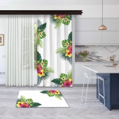 White Summer Flowers Panel Curtain