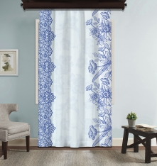Blue Flower Ethnic Composition Panel Curtain