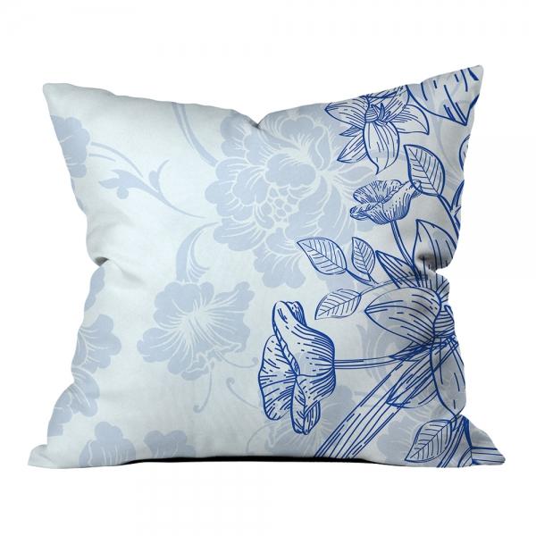 Mavi Çiçek Etnik Kompozisyon Kırlent