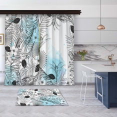 Modern Blue Summer Leaves 2 Pieces Panel Curtain